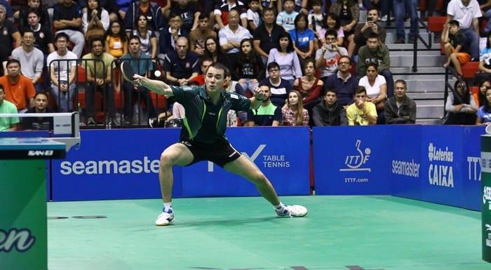 Hugo Calderano venceu o Aberto do Brasil de Tênis de Mesa, disputado no CT Paralímpico, em São Paulo. Foto: Christian Martinez/CBTM