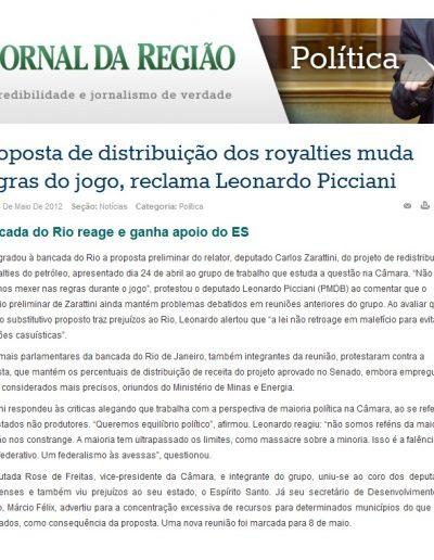 2012.05.04 - Jornal da Regiao - Política - Royalties