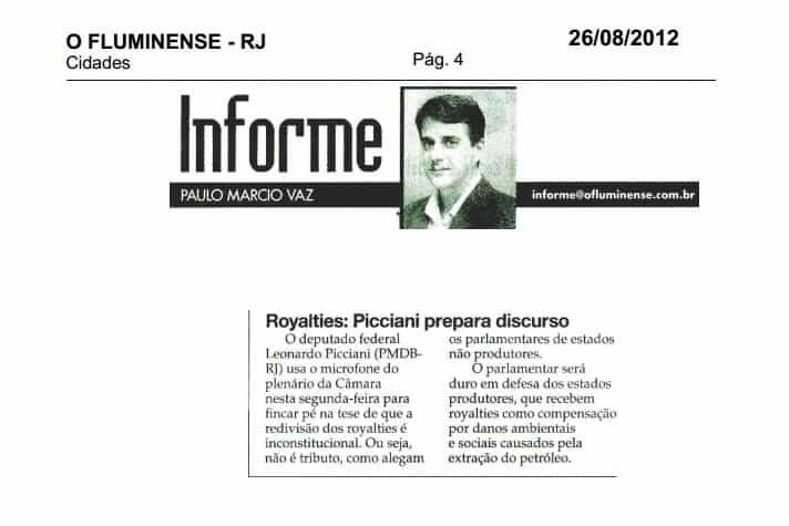 2012.08.26 - O Fluminense - Informe - Royalties, Picciani prepara discurso