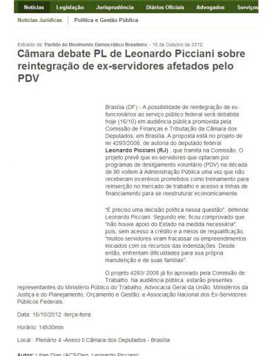 2012.10.16 - Portal JusBrasil - Câmara debate PL de Leonardo Picciani sobre reintegração de ex-servidores afetados pelo PDV