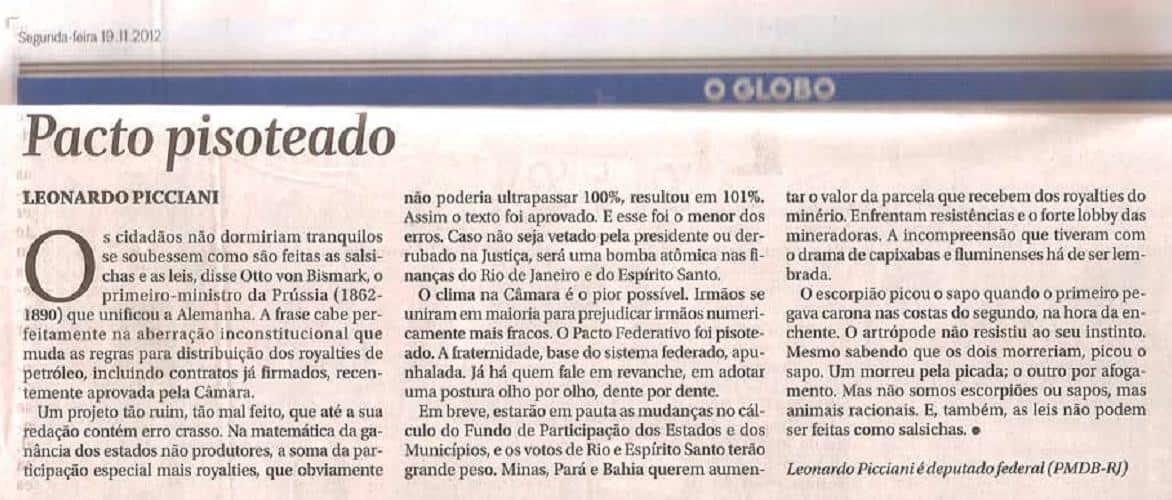Artigo O Globo